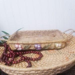 Vintage Rectangle Floral Woven Basket W/ Handles